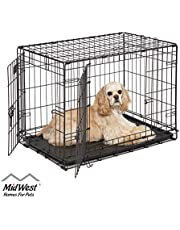 "MidWest iCrate 30"" Double Door Folding Metal Dog Crate w/Divider Panel, Floor Protecting""Roller"" Feet & Leak-Proof Plastic Tray; 30L x 19W x 21H Inches, Medium Dog Breed"