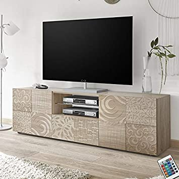 M-012 Gran Mueble TV 180 cm contemporáneo Roble Claro Elma 3 ...