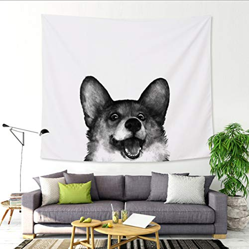 - Felu Wall Hanging Tapestries, Peek Corgi Dog Wall Art Tapestry Boho Hippie Curtain for Children's Room Dorm Home Decor 51x59 Inchs