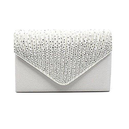 Bridal Classic Handbags (Women Evening Satin Bridal Diamante Ladies Clutch Bag Party Prom Envelope White)