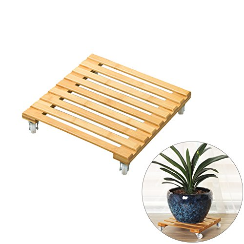Ibnotuiy Bamboo Square Movable Rolling Plant Caddy Planter Dolly Flower Pot Stand with Wheels for Home Office Garden (Small) by Ibnotuiy