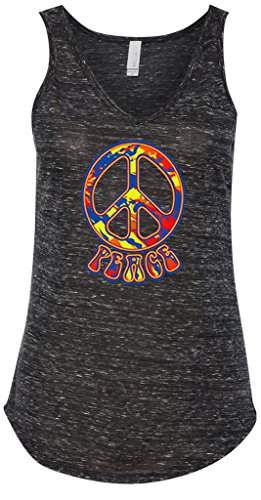 Peace Sign Womens Tank Top (Ladies 70s Funky Peace Sign Flowy V-Neck Tank Top Black Marble 2XL)
