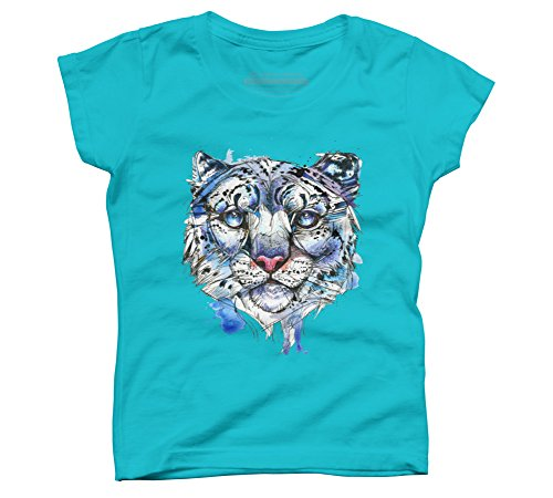 Design By Humans Icy Snow Leopard Girl's Small Ocean Blue Youth Graphic T Shirt