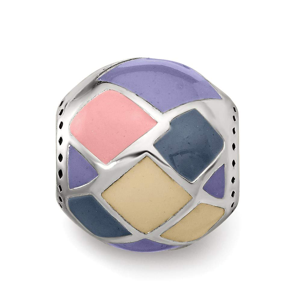 FB Jewels Solid 925 Sterling Silver Reflections Pink,Yellow and Lavender Enameled Silver Ip-Pl