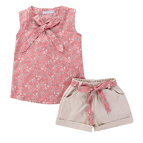 Soly Tech Kids Girl 2 Pieces Outfits Sleeveless Floral Print Tank Top Vest and Belt Shorts by Soly Tech