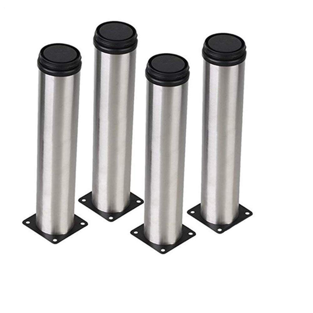 AOWISH 200MM Stainless Steel Furniture Legs/Feet Round 2'' Dia Cabinet/Sofa/Bed/Table/Kitchen Metal Adjustable Legs/Feet with 16 Screws (Set of 4) Silver Tone & Black