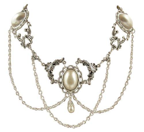 Trachtenschmuck Dirndl Gothic Collier - Kette in viktorianischem Design Weiss Perle