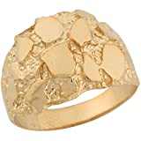 14k Real Yellow Gold Brilliant Rich Dome Design Womens Nugget Ring