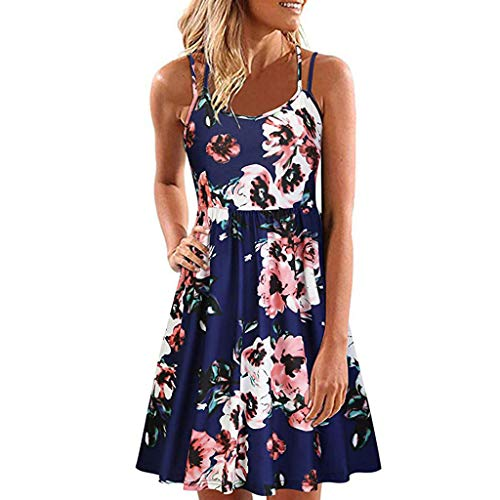 Womens Casual Dress Sleeveless Floral Print Back Crossover A Line Pleated Flowy Hem for Summer (M, ()