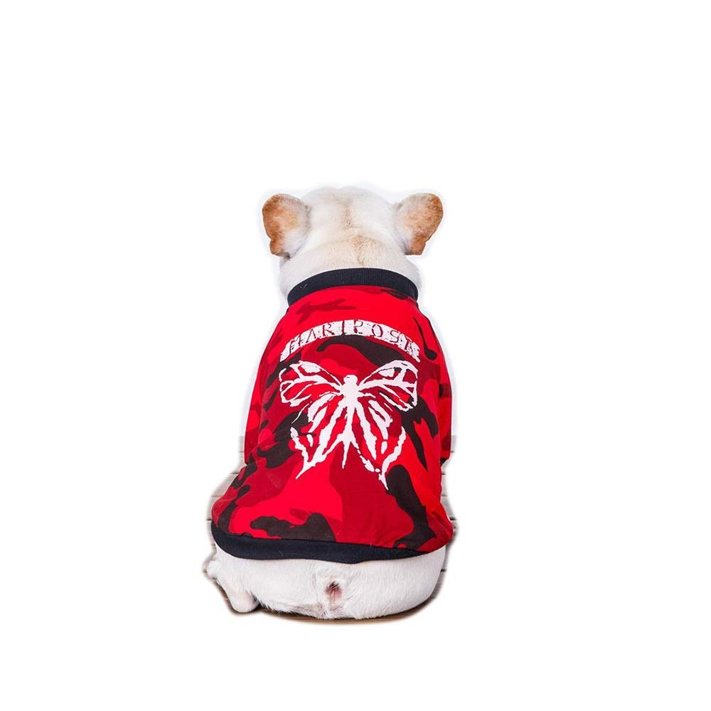Red S Red S Huayue Pet Hooded Sweater Dog Camouflage Spring and Summer Fooling T-Shirt (color   Red, Size   S)