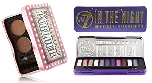 Nice W7 Holiday Kit: In The Night Smokey Shades Eye Colour Palette Tin, 12 Eye Shadows + Brow Parlour The Complete Eyebrow Grooming Kit + FREE Makeup Blender Sponge for sale