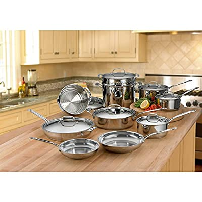 Cuisinart Saute Pan Metal Stainless Steel Mirror-polished 17-piece Cookware Set