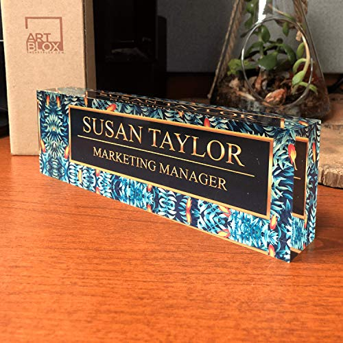 - Desk Name Plate Personalized Name & Title, Tropical Flower Design Printed on Premium Clear Acrylic Glass Block Custom Office Decor Home Accessories Desk Nameplate Unique Customized Appreciation Gifts
