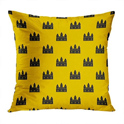 Vooft Throw Pillow Cover Home Sofa Live Room Car Hidden Zipper Decor Square 16 X 16 Inch Castle Tower Pattern Seamless Repeat Geometric Decorative Cushion Pillowcase