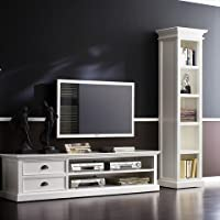 814495012086 Halifax 2 Drawers White Mahogany TV Console and Media Center