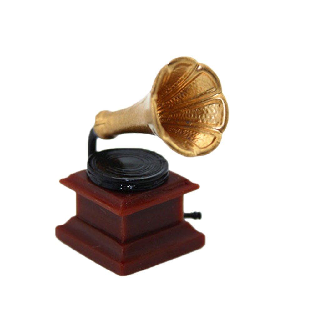 Spielhaus goldfarben Puppenhaus-Zubeh/ör. Kunstharz Zmigrapddn Puppenhausm/öbel Einheitsgr/ö/ße Mini-Phonograph Kinderspielzeug