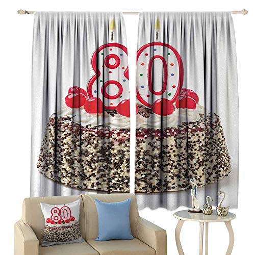 (HoBeauty 80th Birthday, Room Darkening Wide Curtains, Birthday Party Cake with Sweet Tasty Cherries Sprinkles and Candles Image, Decor Curtains by,(W55 x L63 Inch, Multicolor)