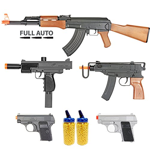 BBTac Airsoft Gun Package - Guerilla Collection of 5 Airsoft Guns - Full Auto AK AEG Electric Airsoft Rifle, Skorpion, Uz and Dual Mini Pistols, 4000 BB Pellets, Great for Starter Pack Game Play (Best Starter Aeg Airsoft Gun)