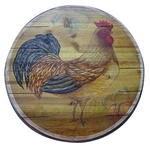 UPC 026602566188, Boston Warehouse Hand Crafted Wood Lazy Susan and Turntable, Tustic Rooster