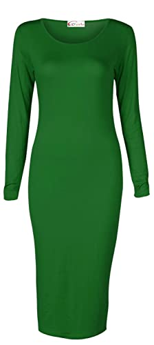 Crazy Girls Women's Long Sleeve Scoop Neck Midi Dress