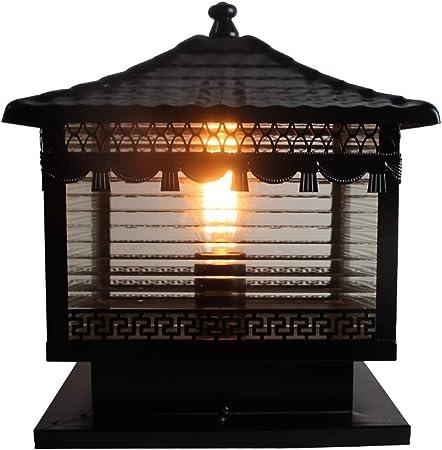 Creative bendición paz escarchado vidrio cobre exterior Pilar lámpara impermeable columna luz E27 puerta Villa jardín Europa balcón exterior impermeable rico post mesa de luz [clase de energía A]: Amazon.es: Hogar