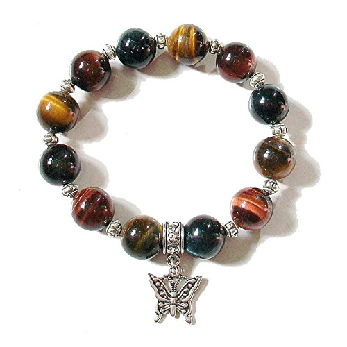 Silver Tone Tigers Eye - Brown, Red & Blue Tiger's Eye & Tibetan Silver-tone Stretch Bracelet