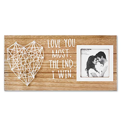 VILIGHT Boyfriend and Girlfriend Couples Romantic Picture Frame - Love You Most The End I Win Husband Gifts from Wife Rustic Sign for 3x3 Photo (Girlfriend Good Birthday For Gift)