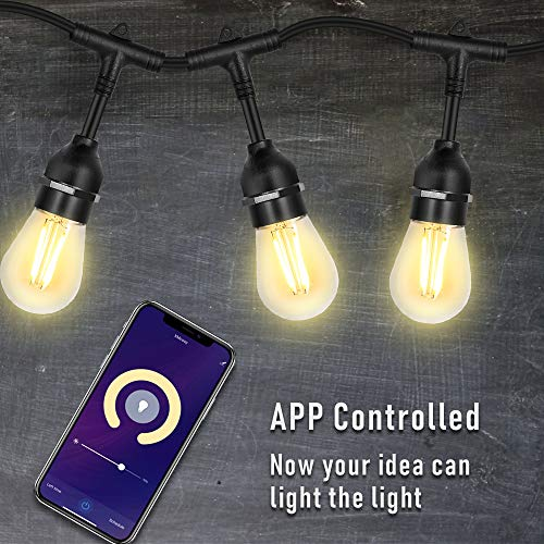 Outdoor String Lights – 49ft LED String Lights with Phone App, Waterproof & Shatterproof, Dimmable, Automatic Switch with Schedule Setting. Extendable Smart String Lights for Outdoor/Indoor Ambience