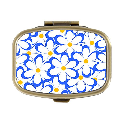 Tone Daisy Flower (Vintage Flowers Floral Cute Of Daisies Flowers Pill Box Custom Fashion Bronze Tone Rectangular Pill Box Medicine Tablet Holder Wallet Organizer Case for Pocket or Purse)