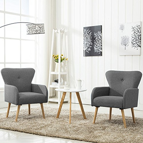 Magshion Elegant Upholstered Fabric Club Chair Accent Chair Living Room Set of 2 (Dark Grey)