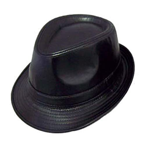 Fedora Trilby Hats For Adults Uni-Sex Style - Faux Leather Hats- Black  Color (FedHat11 Z) at Amazon Men s Clothing store  f4ff1afac124