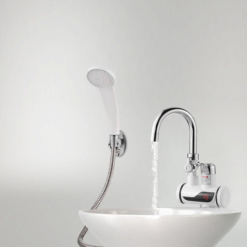Decdeal - Grifo de Fregadero con Ducha Extraíble Eléctrico de Agua Fría y Caliente Instantáneo, Led Pantalla de Temperatura: Amazon.es: Hogar