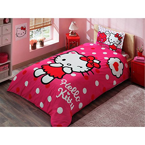 Disney Hello Kitty Girl's Kid's Twin Duvet/Quilt Cover Set Single / Twin Size Kids Bedding
