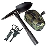 Tfwadmx Military Shovel Foldable Tactical Pickaxe Camping Survival Fire Starter Magnesium Sticks with Compass Outdoor Emergency Kit