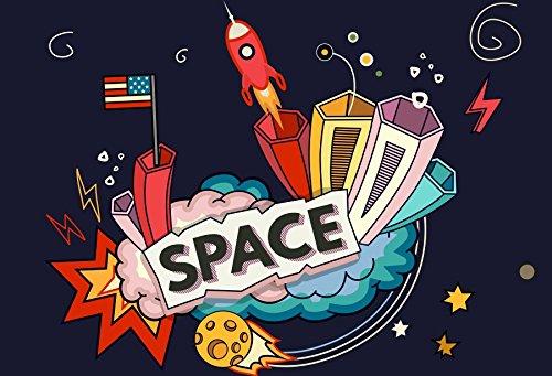 Baocicco Cartoon Outer Space Blast Backdorp Spaceship USA Fl