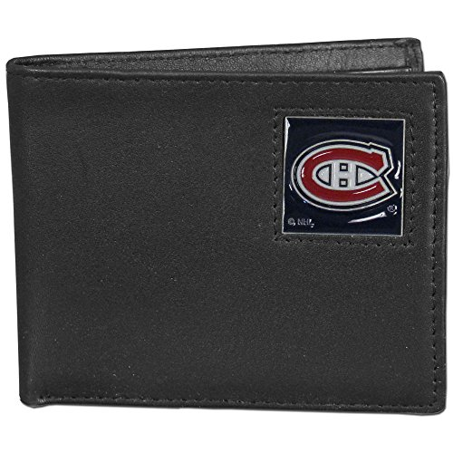 NHL Montreal Canadiens Leather Bi-Fold Wallet Packaged in Gift Box, Black