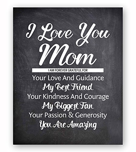 Mom Quote Chalkboard Wall Art Print Plaque, Perfect Wall Decor Gift For Any Occasions, Mother's Day, Birthday, Christmas, Appreciation Present From Son or Daughter (Presents Pictures)