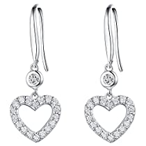 ♥Gift for Women♥ Sterling Silver Heart Shape Dangle Earrings with Cubic Zirconia Fine Jewelry Gift for her