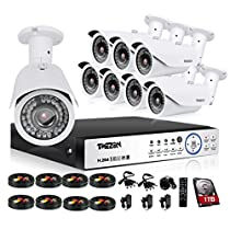 TMEZON 1080P 16CH AHD Video Security System 8 2.0MP Bullet IP66 Weatherproof Camera Outdoor Indoor Day Night IR-CUT CCTV Surveillance System 100ft Night Vision 2TB HDD
