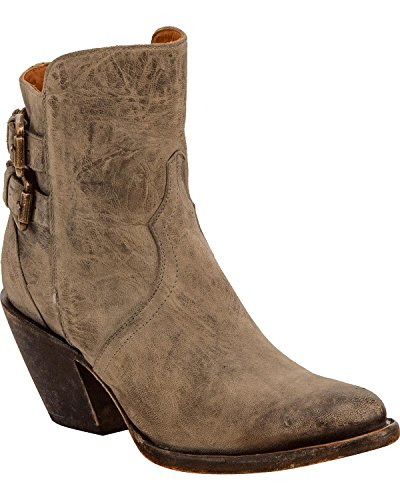 Distressed Booty - Lucchese Women's Handmade Catalina Distressed Leather Booties Round Toe Grey 9.5 M