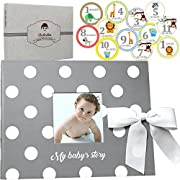 Little Baby Memory Book + Monthly Stickers & Gift Box. First 5 Years Unisex Keepsake Journal, Scrapbook, Photo Album. Record Babies Milestones. Modern Baby Shower Gift Set for Boys or Girls, Gray