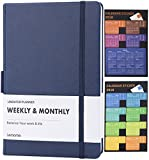 UNDATED Weekly & Monthly Planner + 2018 Calendar Stickers to Achieve Your Goals & Improve Productivity, Premium Thicker Paper, Pen Holder with 40 Notes Pages - Lemome
