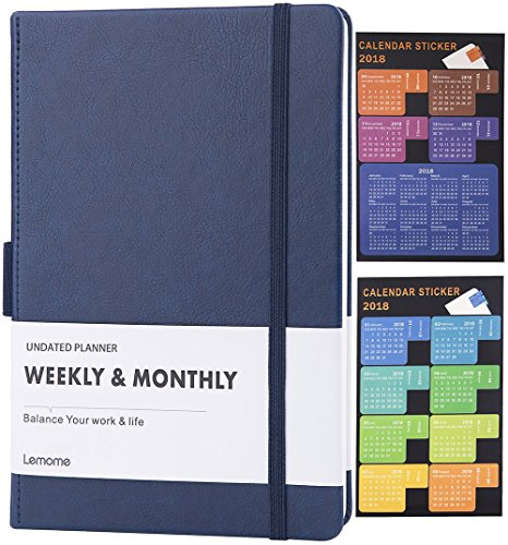 CLEARANCE SALE!!! UNDATED Weekly & Monthly Planner + 2018 Calendar Stickers to Achieve Your Goals & Improve Productivity, Premium Thicker Paper, Pen Holder with 40 Notes Pages, A5 - Lemome