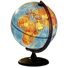 HearthSong® Electric Illuminated Orion Relief World Globe Detailed Educational Geographic Learning Toy Sturdy Non Tip Base Interior Light 12 Inch Diam