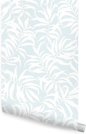 Tropical Leaves Peel And Stick Wallpaper Single Sheet 2x4 Feet Light Blue Amazon Com