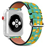 Compatible with Apple Watch - 38mm Leather Wristband Bracelet with Stainless Steel Clasp and Adapters - Teal Pineapple Weed