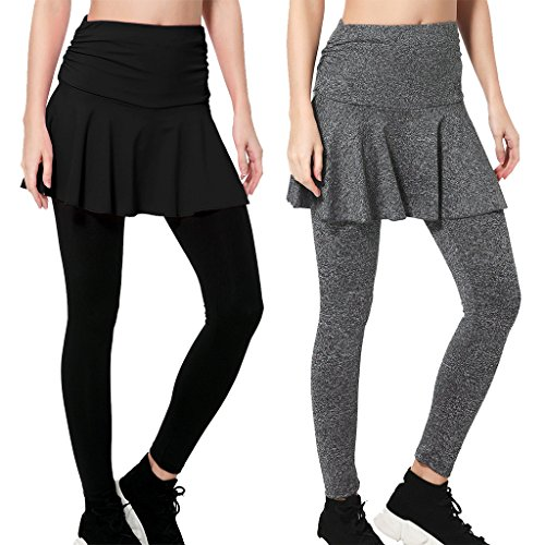 (Wantdo Women's Gym Skirted Leggings Tigh Push Up Yoga Pants 2 Pack L Black&Grey)