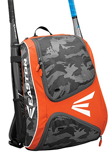 - EASTON E110BP Bat & Equipment Backpack Bag | Baseball Softball | 2019 | Orange | 2 Bat Sleeves | Smart Gear Storage | Vented Shoe Pocket | Rubberized Zipper Pulls | Fence Hook