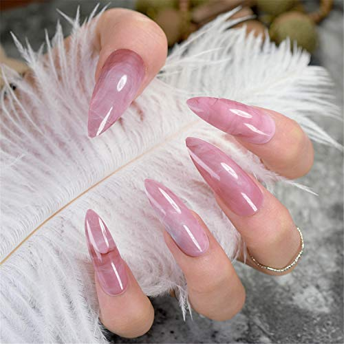 (Extra Long False Nails Pre-Designed Curved Pink Marble Press On Nails Including Glue Sticker pink marble)