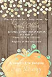 30 Invitations Pumpkin Autumn Fall Boy Unisex Baby Shower Birthday Party Personalized Cards Wood Rustic Glitter Confetti + 30 White Envelopes